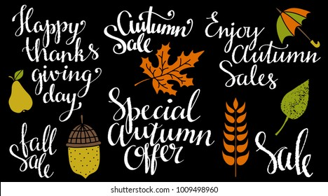 Fall, autumn set. Leaves, acorn, pear, umbrella, spica hand drawn. Calligraphic text, handwritten. Isolated on black background