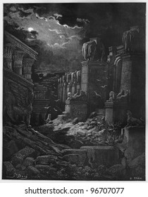 The Fall of Babylon - Picture from The Holy Scriptures, Old and New Testaments books collection published in 1885, Stuttgart-Germany. Drawings by Gustave Dore.