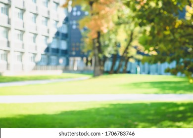 Fall blurred background with build. Buildings, windows, trees, study. A part of white buildings with windows, trees and gazon. Place for your text.