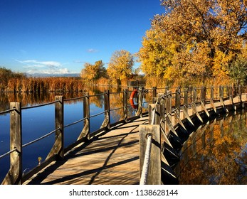 Fall Bridge Walkway Mary lake Rocky Mountain Arsenal