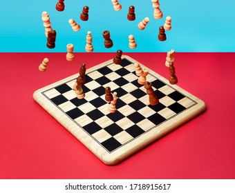 the fall of chess on a chessboard