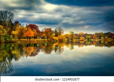 Fall Color in Bde Maka Sak North Beach Minneapolis Minnesota