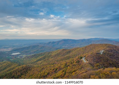 Fall color and Blue Ridge Mountains from Little Stony Man Cliffs, on the Appalachian Trail in Shenandoah National Park, Virginia