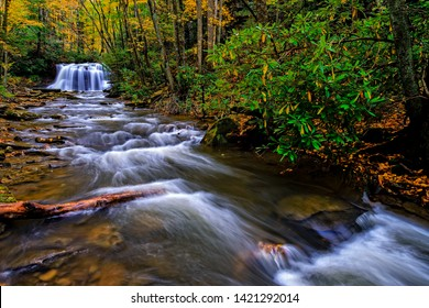 Fall color, Holly River State Park, Upper Falls, Webster County, West Virginia, USA