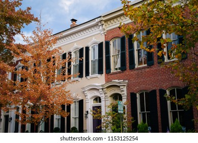 Fall color and row houses in Old Town, Alexandria, Virginia