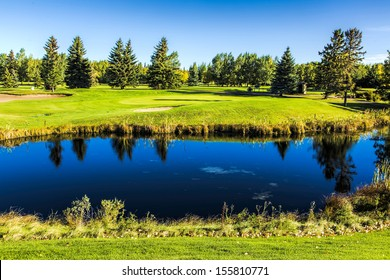 The fall colors of autumn surround the greens of the golf course
