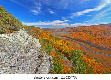 Fall colors of the Big Carp River Valley in Porcupine Mountains Wilderness State Park