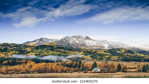 Fall colors and first snow in southwestern Colorado mountains, wolf creek pass