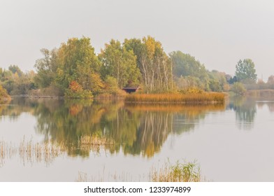 Fall colors at the lake of Arrie, Vellinge Skane, Sweden