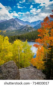 Fall colors and Longs Peak above Bear Lake in Rocky Mountain National Park