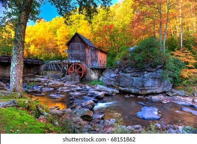Fall colors in the mountains of West Virginia and old grist mill