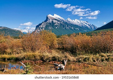 Fall colors of Mt. Rundle at Vermillion Lakes in Banff National Park Alberta Canada