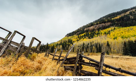 Fall colors and old ranch fence in southwestern Colorado