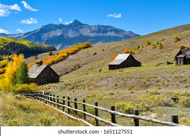 Fall colors with old wood buildings on San Juan Skyway.