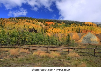 Fall colors  on the aspens trees in the surrounding mountain landscapes