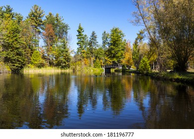 Fall Colors on Scenic Pond in Ontario