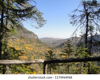 Fall colors on trees in Saguenay Fjord National Park, Laurentian Mountains Quebec