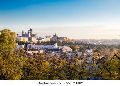 Fall colors over Spain capital Madrid