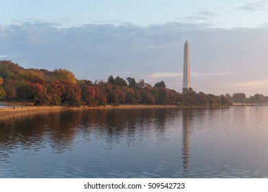 Fall colors at peak on the Tidal Basin in Washington, DC