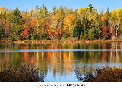 Fall colors reflecting in a Upper Michigan lake, Hiawatha National Forest near Munising.