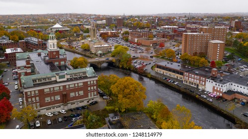 Fall comes to the trees and landscape in the downtown urban core of Pawtucket Rhode Island