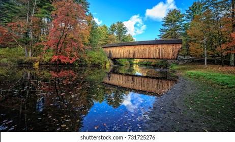 Fall at the Corbin Covered Bridge in Newport, New Hampshire.