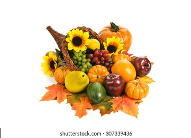 Fall cornucopia arrangement with pumpkins in autumn colors/ Fall Cornucopia Arrangement With Pumpkins On White Background