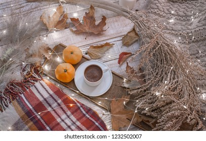 fall cozy day with cup of coffee