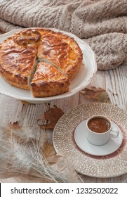 fall cozy day with cup of coffee and pie