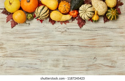 Fall decoration on wood background