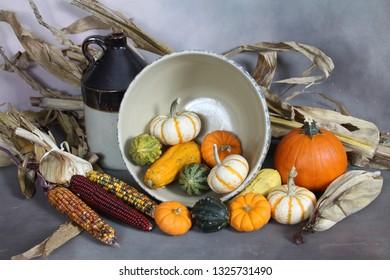 Fall display of food and corn stocks.