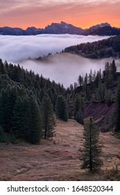 Fall Dolomites under inversion cover
