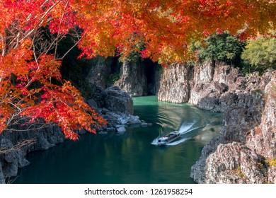Fall of Dorokyo valley, Water jet boat, Kitayama river, japan