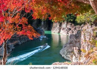 Fall of Dorokyo valley, Water jet boat on Kitayama river, Japan