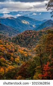 Fall foliage of the Blue Ridge Mountains in North Carolina
