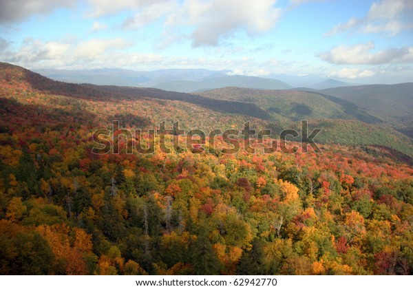 Fall foliage in Catskills, New York. View from Giant Ledge Trail
