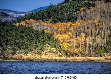 Fall foliage colors along Saguenay river.