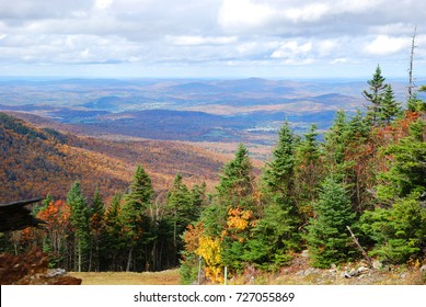Fall Foliage of Green Mountains from top of Sterling Mountain near Smugglers' Notch in Vermont, USA.