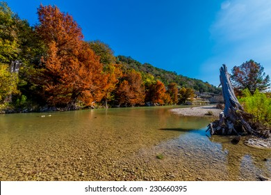 Fall Foliage at Guadalupe State Park, Texas, on the Clear Guadalupe River.