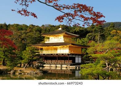 Fall foliage at Kinkaku-ji temple (UNESCO World Heritage) in Kyoto, Japan.
