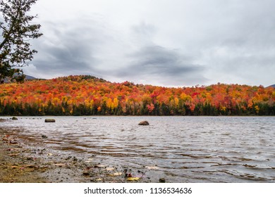 Fall foliage with lake in foreground