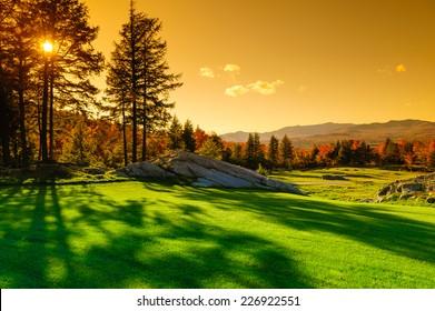 Fall foliage landscape, Stowe, Vermont, USA