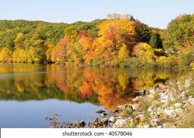 Fall Foliage on lake near Harriman State Park, New York