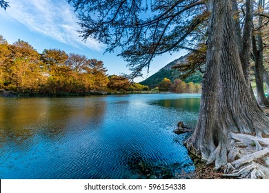 Fall Foliage on Trees Lining the Crystal Clear Frio River at Garner State Park, Texas.