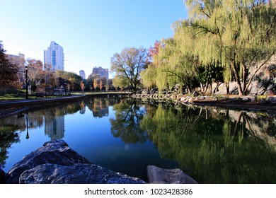 Fall foliage reflections in Morningside Park, New York City, New York.