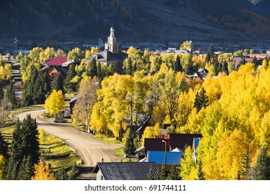 Fall foliage in the small mountain town of Silverton, Colorado.