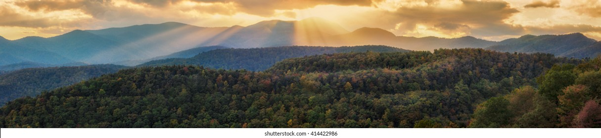 Fall Foliage Sunset Over The Appalachian Mountains On The Blue Ridge Parkway