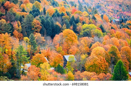 Fall foliage in Vermont mountains
