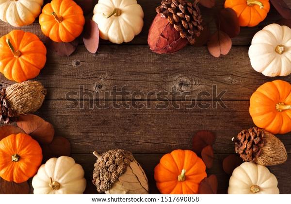 Fall Frame Mixed Pumpkins Acorn Decor Stock Photo Edit Now