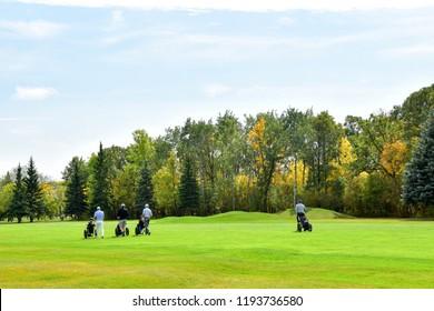 Fall Golfing, Foursome.